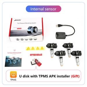 Image 5 - Jansite usbアンドロイドtpms車のタイヤ空気圧警報監視システム4つのセンサと車両androidプレーヤー温度警告