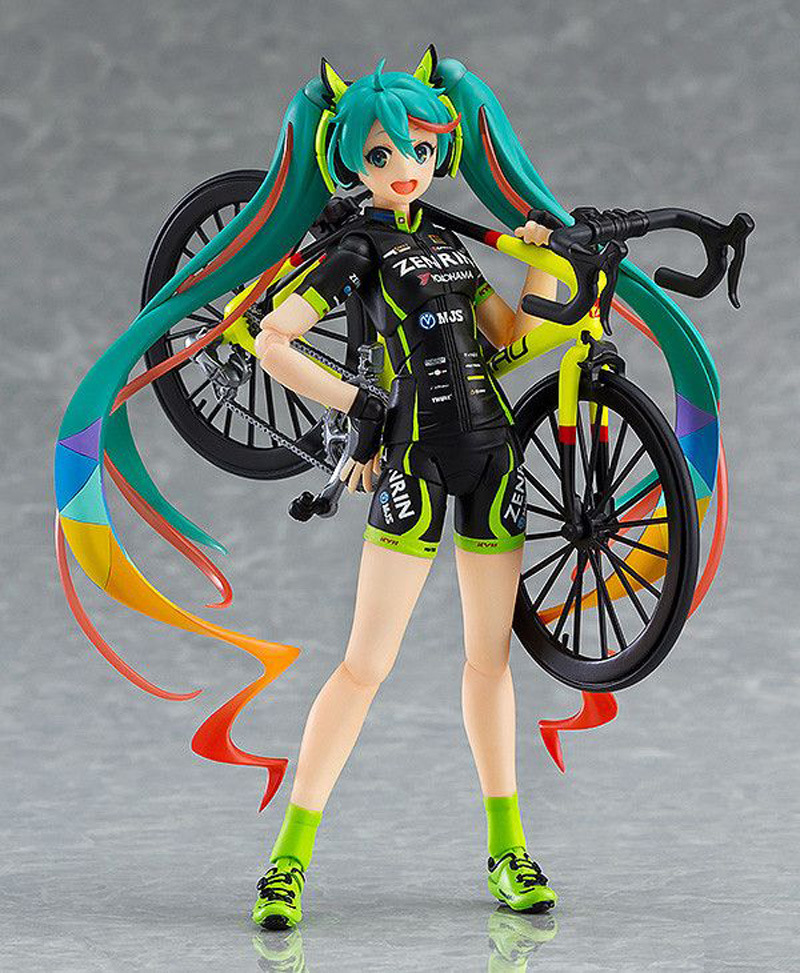 14cm Hatsune Miku Figma 307 Racing Miku 2015 teamUKYO support pvc Anime action figure Place adorn article model toy image