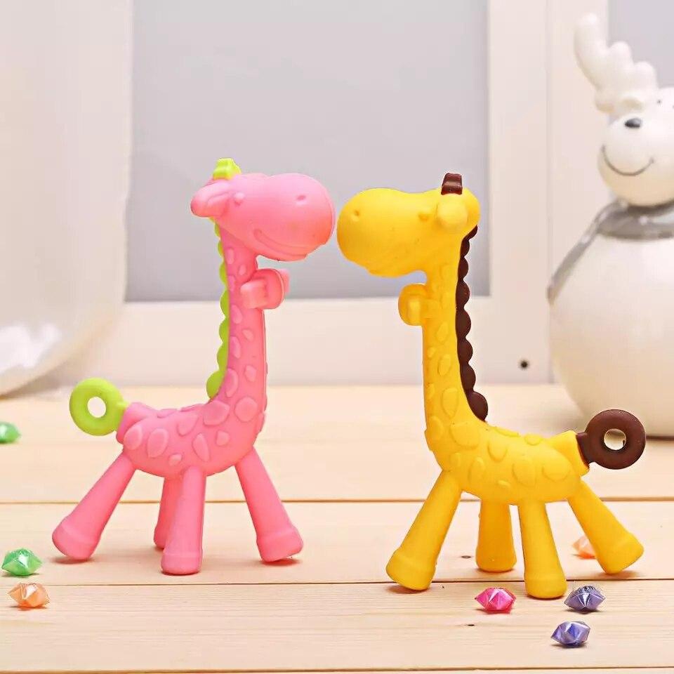 Baby Teeth Fawn Molar Rod Giraffe To Bite Teether Safety Baby Pacifier Cartoon Teething Nursing Silicone Toys Birthday Gifts