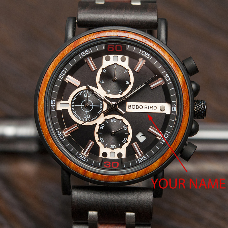 BOBO BIRD Wood Men Watch Engrave Your Name Date Display Wristwatch Birthday Gift For Dad Wood Box Relogio Masculino OEM