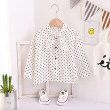 2019 New fashion childrens long sleeve white blouse toddlergirl shirt autumn baby girl polka dot Kids collar
