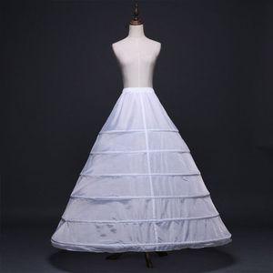 Image 2 - Womens Full Length White Crinoline Petticoat A Line 6 Hoops Skirt Slips Long Underskirt for Wedding Bridal Dress Ball Gown