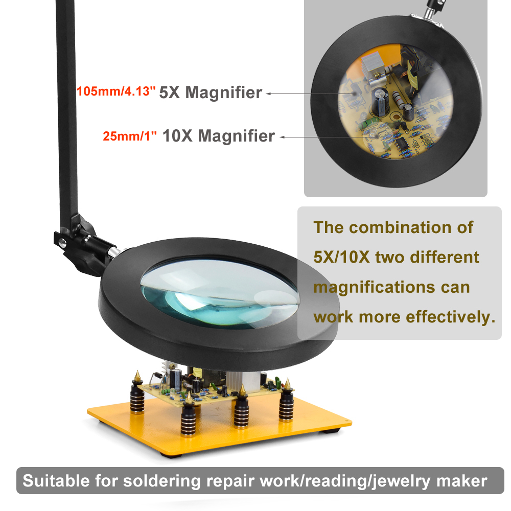 Tools : NEWACALOX Remote Control USB 10X 5X Magnifier LED Illuminated Magnifying Glass Featuring Light Third Hand Soldering Tool