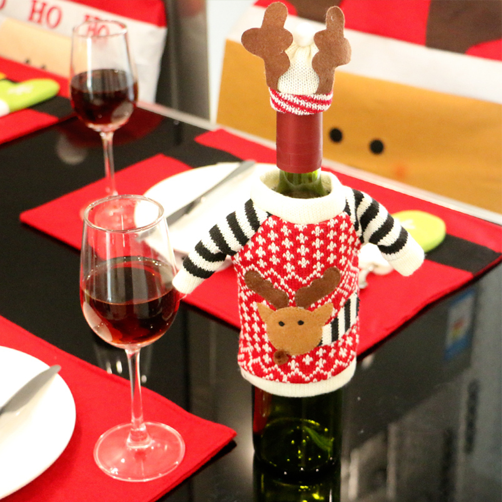 Christmas Decorations Cartoon Elk Knitted Clothes Bottle Covers Restaurant Creative Bottle Bag Christmas Table Festival Decor