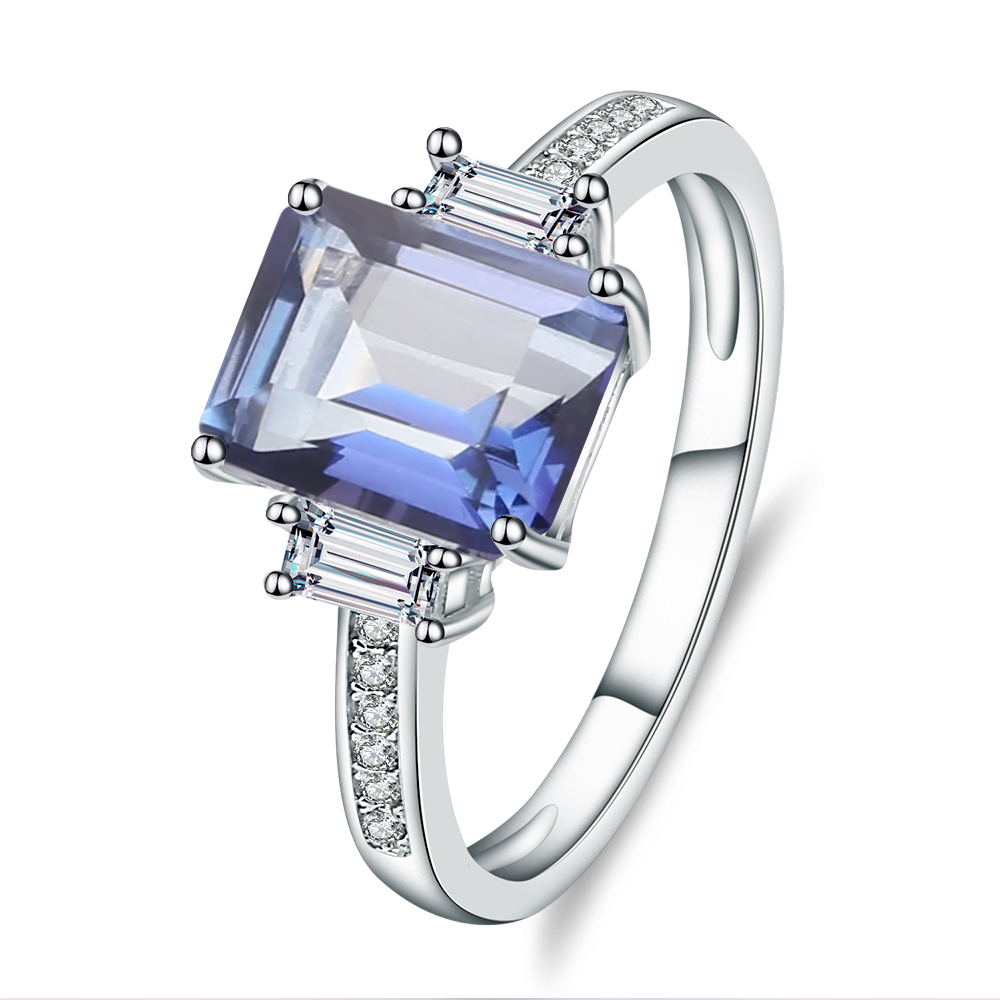 Gem's Ballet 2.05Ct Natural Iolite Blue Mystic Quartz Gemstone Ring For Women 925 Sterling Silver Rings Fine Jewelry