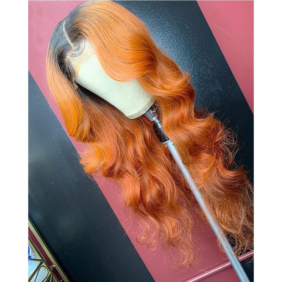370 Ombre Orange Human Hair Wig Natural Wave Chinese Remy Preplucked 360 Lace Frontal Wig Glueless Baby Hair For Women