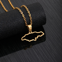 Stainless Steel Jamaica Map Pendant Necklaces for Women Girls Lover's Engagement Jewellery Gold Color Jamaican Jewelry недорого