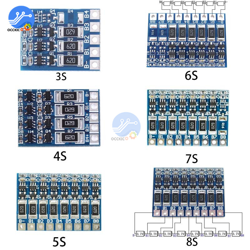 BMS 3S 4S 5S 6S 7S 8S 18650 Lithium Battery Charger Protection Board Power Bank Balancer Li-ion Lipo PCB Charging Equalizer