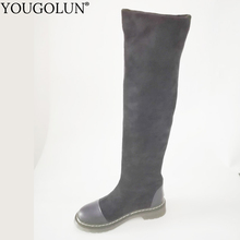 Stretch Cloth Thigh High Boots Women Autmn Winter Low Heel Shoes Woman A343 Fashion Ladies Black Over Knee Genuine Leather Boots keaiqianjin woman string bead over the knee boots black fashion autumn winter high heeled shoes genuine leather knee high boots