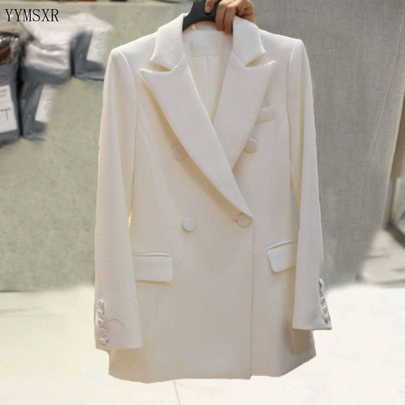 Autumn and winter women's blazer high quality 2020 casual solid color slim ladies jacket white Workwear office coat feminine