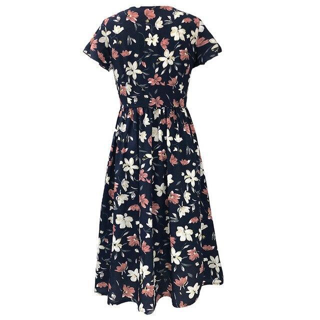 Women Dress 2020 Summer V-neck Floral Print Chiffon Dress Boho Style Short Party Beach Dresses Vestidos de fiesta 4