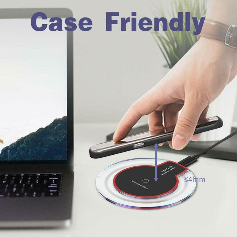 Galleria fotografica Wireless Charger For iPhone XS Max XR Phone LED USB Wireless Fast Charging For IPhone Xiaomi Samsung Galaxy S8 S9 Plus Adapter