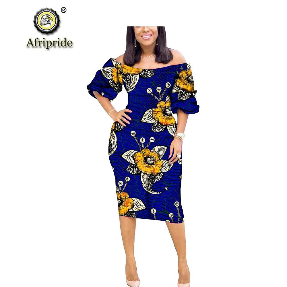 2018 ~ 2019 vestido africano de algodón puro de manga media sin tirantes bazin riche ankara estampado dashiki AFRIPRIDE S1825030-in Vestidos from Ropa de mujer    2