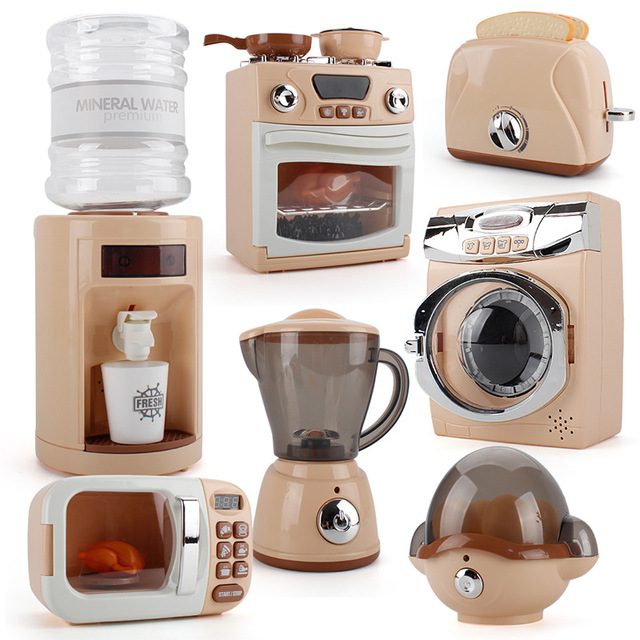 Children Play Household Appliances Microwave Oven Toaster Water Dispenser Kitchen Set Educational Toy With Sound And Light