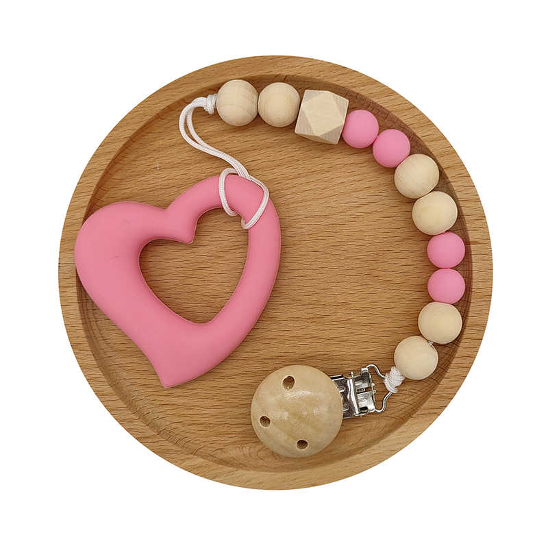NATURAL WOOD AND FOOD GRADE SILICONE. TEETHER AND DUMMY CLIP SET BABY GIRL