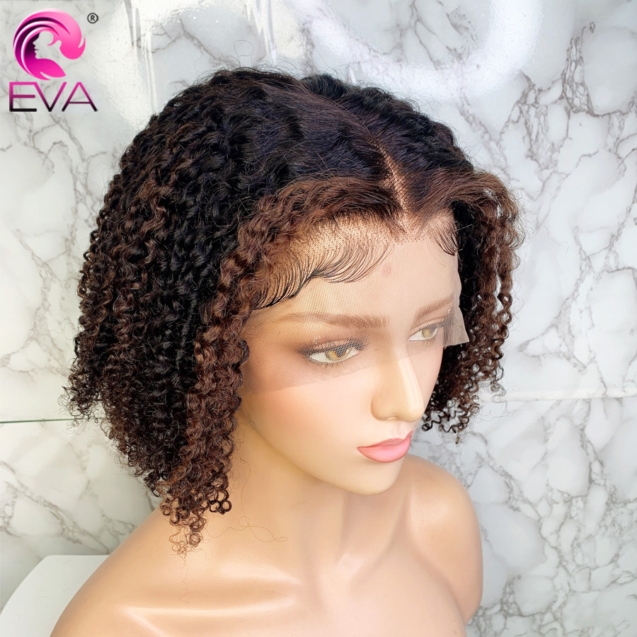 Eva Hair Highlight Colored Human Hair Wigs Kinky Curly Ombre 13x6 Lace Front Wigs Pre Plucked With Baby Hair Brazilian Remy Hair
