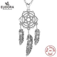 EUDORA new 925 Sterling Silver Dream catcher Pendant with Feather CZ Necklace for Women Unique Friend Gift Sliver Jewelry D269