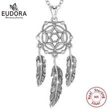 Eudora novo 925 prata esterlina sonho apanhador pingente com pena cz colar para as mulheres exclusivo amigo presente tira jóias d269