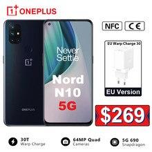 Versão da ue oneplus nord n10 5g 6gb ram 128gb rom snapdragon 690 smartphone 90hz exibição 64mp quad cams warp 30t nfc telefone móvel