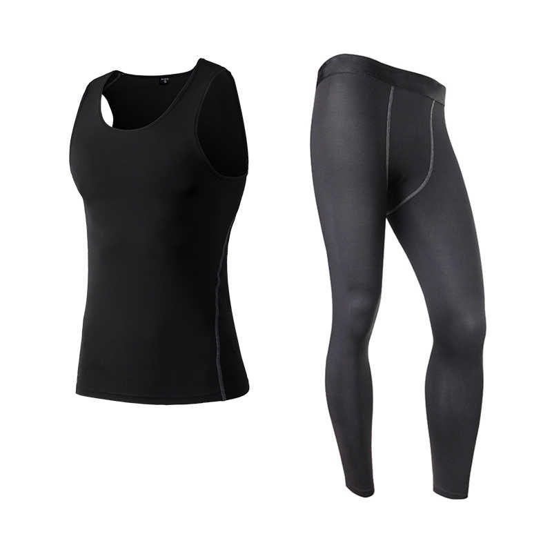 Pria Kompresi Kebugaran Celana Ketat Menjalankan Set Wicking Olahraga Setelan Rompi Tanpa Lengan T-Kemeja + Celana Pakaian Gym Pria Olahraga