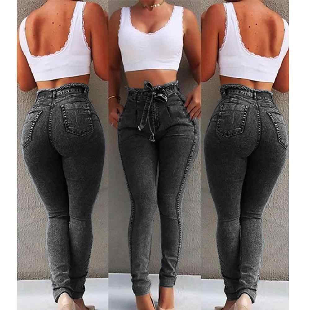 Hoge Taille Jeans Voor Vrouwen Slim Stretch Denim Jean Bodycon Kwastje Riem Bandage Skinny Push Up Jeans Vrouw #1217