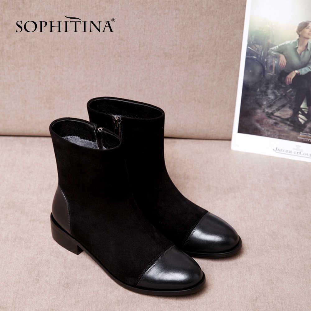 SOPHITINA Moda Yuvarlak Ayak Bayanlar Çizmeler Rahat Metal Dekorasyon Med Topuk Ayakkabı Kış Temel Katı Kare Topuk Kadın Çizmeler SO203