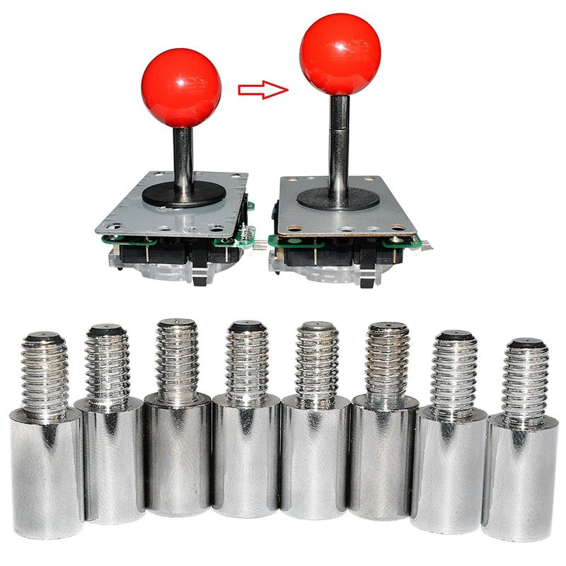 8pcs Chrome Arcade Joystick Shaft Extender 15mm Extension ROD For SANWA Joystick PXPF