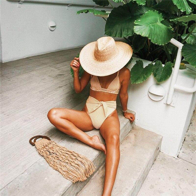 2020 Summer Sexy Bikini Set Vintage Striped Push Up High Waist Swim Wear Bathing Suit Women Swimsuit Biquini Brazilian Bikinis 1