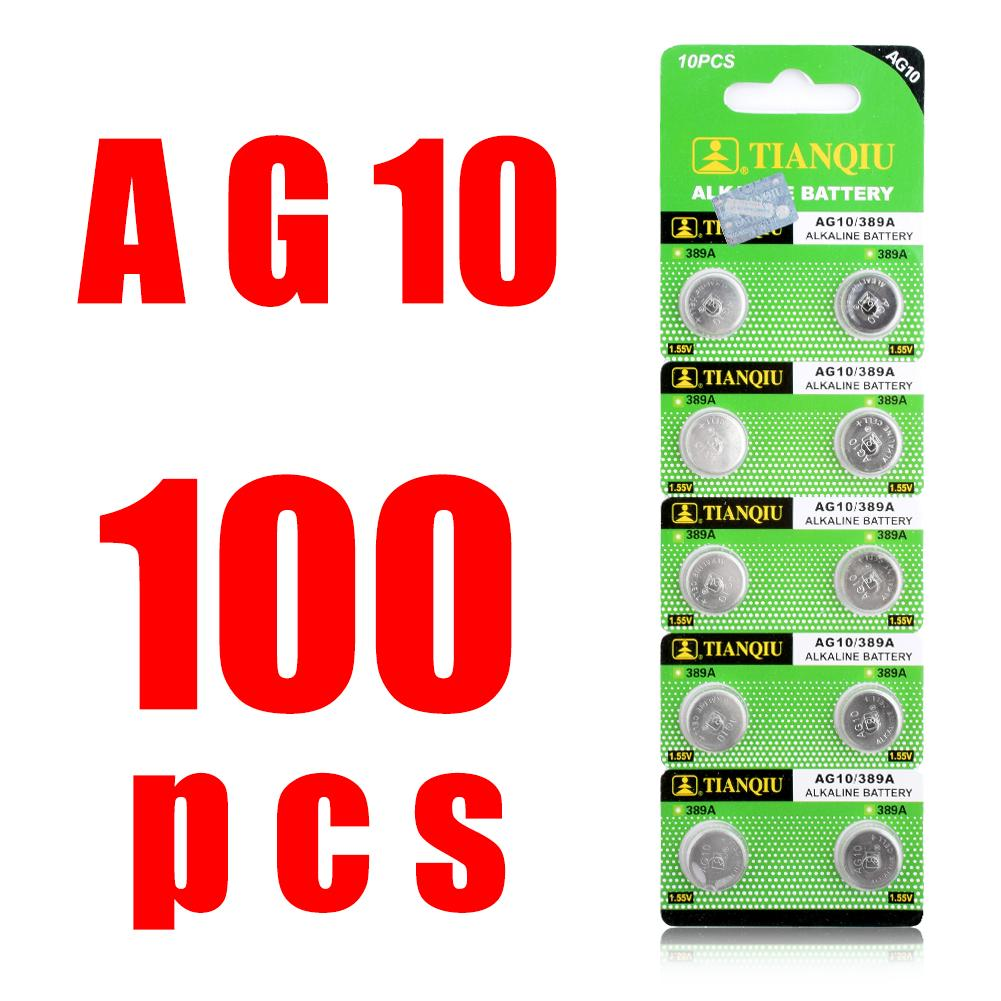 100x LR1130 AG10 V10GA батарея часы Кнопка монета 189 389 390 LR54 батареи 100 шт. AG10 G10A SR1130 LR1130 390A D189 LR54