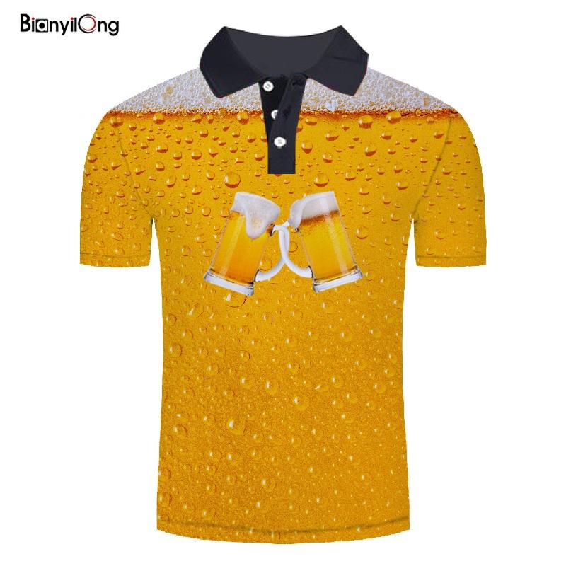BIANYILONG 2019 new Summer beer 3D print Men Polo Shirt Mens short Sleeve Polo Shirts Polos Masculina Plus size Tops polo homme image