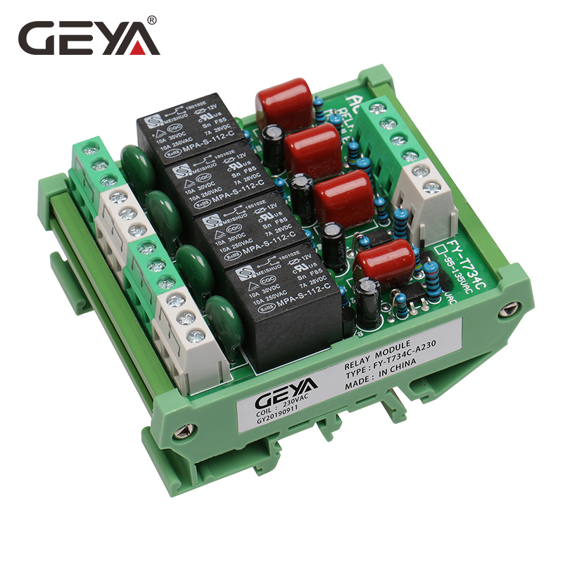 GEYA Din Rail 4 Channel Relay Module 1 SPDT DIN Rail Mount 12Volt DC 24Volt DC Interface Relay Module 230VAC