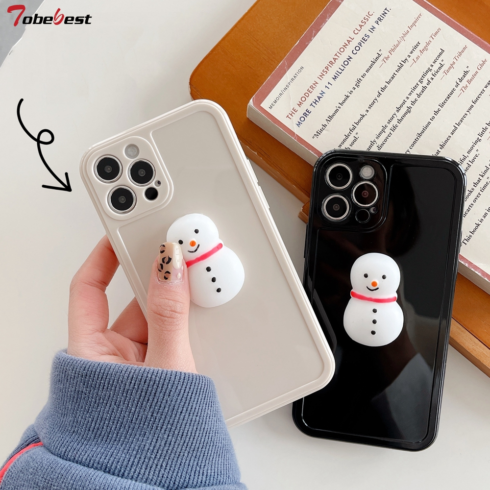 Cute 3D Snowman Stress Relief Phone Cases For Iphone 12 11 Pro Max 12Mini X XS Max XR 7 8 Plus Soft TPU Back Cover
