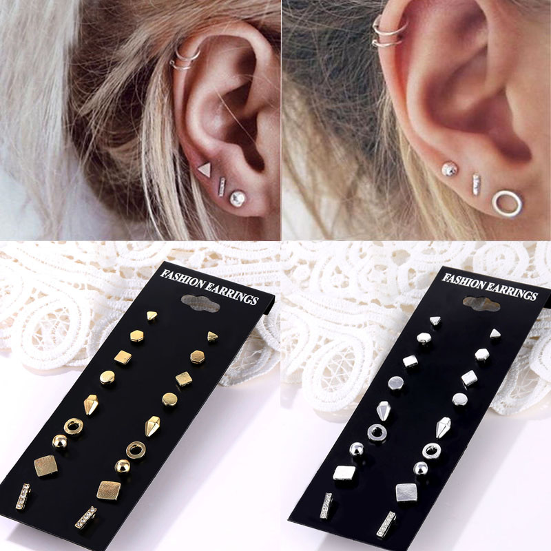 Vienkim Minimalist Mixed Small Earrings Set Simple Geometric Gold Silver Color Stud Earrings for Women Girls Tiny Ear Jewelry