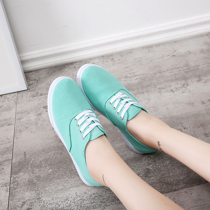 2019 Spring Canvas Shoe Sneakers For Women Shoes Breathable Women's Casual Shoes Lace up Solid Color Woman Shoes Loafers 28-43