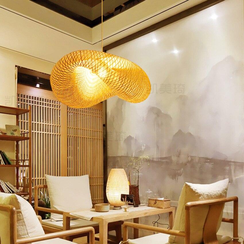 Nordic Holz Anhänger Lichter Bambus Küche Leuchten Led Suspension Anhänger Lampe Hause Indoor Esszimmer Hängen Lampe Leuchte