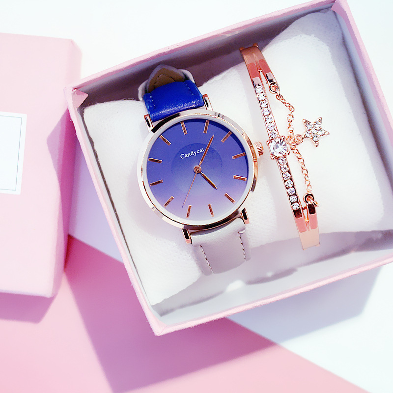Ins Watch Female Simple And Lovely Quartz Watch Fashion Casual Wild Belt Female Table High-end Gift Gradient Watch