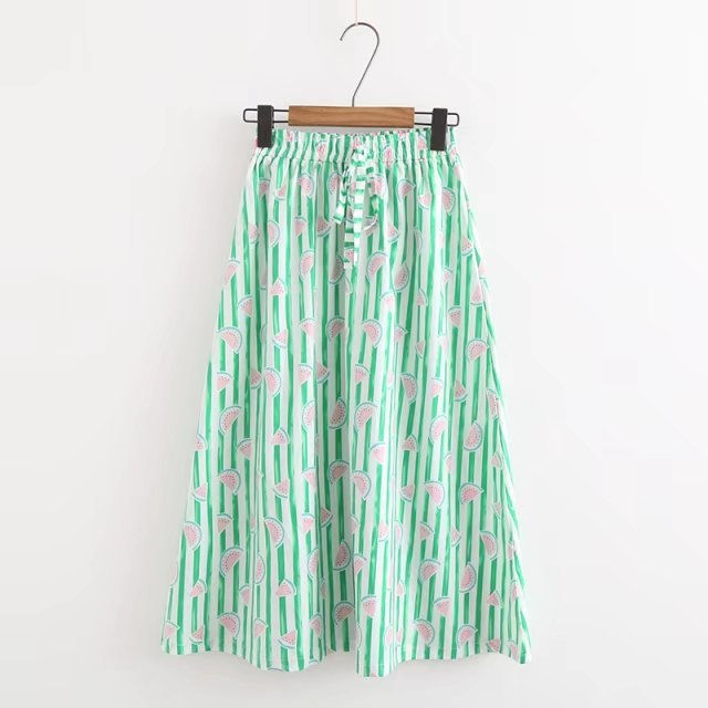 Summer New Style Japanese-style Watermelon Printed Skirt Women's Elastic Waist Casual A- Line Skirt Stripes Long Skirts DC4267
