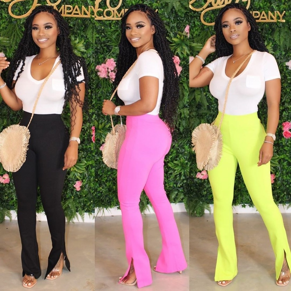 Women New Solid Color Slim Split Micro-Horn Pants Flare Trousers Female Bodycon Bottom Capris Elegant Work Pants Modal Plus Size