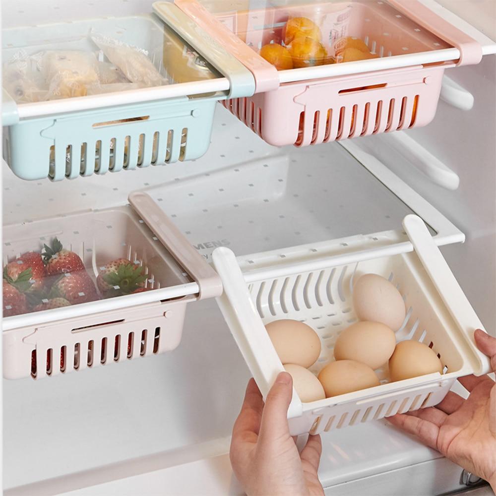 Kitchen Adjustable Stretchable Refrigerator Organizer Drawer Basket Refrigerator Drawers Vegetable Storage Rack Holder(China)