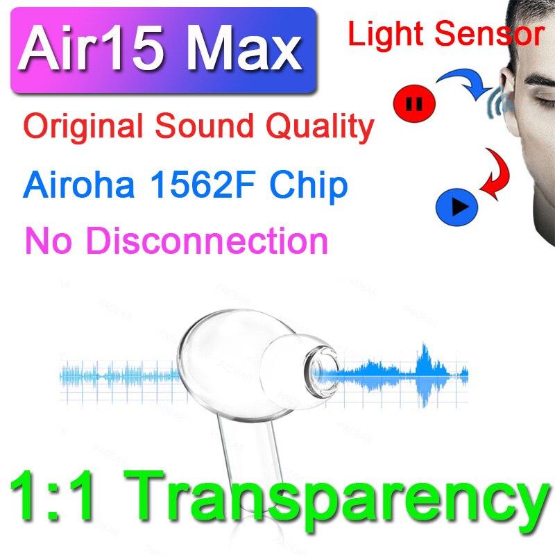 Air15 max tws air3 fones de ouvido bluetooth sem fio com sensor de luz texto sem desconexão esporte fones super bass pk i99999 plus