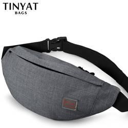 TINYAT Для мужчин мужской Повседневное функциональная поясная сумка талии сумка Деньги телефон ремень сумка Серый набедренная сумка