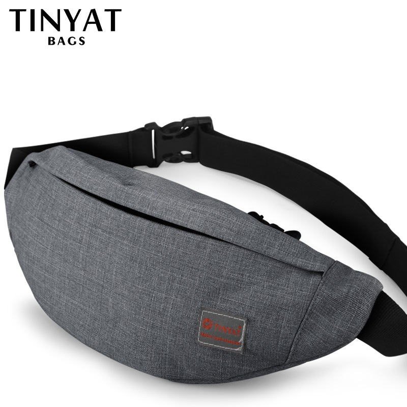 TINYAT Male Men Waist Bag Pack Casual Functional Money Phone Belt Bag Women Bag for Belt Canvas Hip Bag Fanny Pouch Banana bags