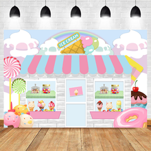 Ice Cream Shop Background for Photography Baby Shower Birthday Party Decoration Backdrops Candy Dessert Table Photographic Props