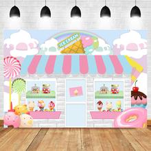 Фон для фотосъемки в магазине мороженого, Декорации для детского дня рождения и вечеринки, фоны для фотосъемки с конфетным десертом