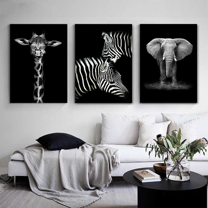 أبيض وأسود قماش اللوحة المشارك طباعة الحديثة الطبيعة الأفريقية البرية الحيوان جدار صورة فنية لغرفة المعيشة ديكور المنزل