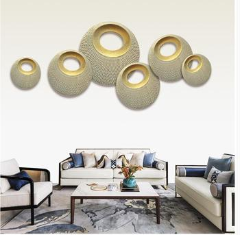 Modern Wood Round Shape Wall Hanging Crafts Home Livingroom Background Wall Mural Ornaments Office Hotel Wall Sticker Decoration