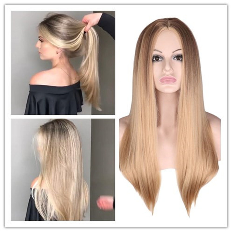 WHIMSICAL W Long Straight Blonde Wigs Middle Part For African American Women Heat Resistant Hair Synthetic Wig Natural Peruca