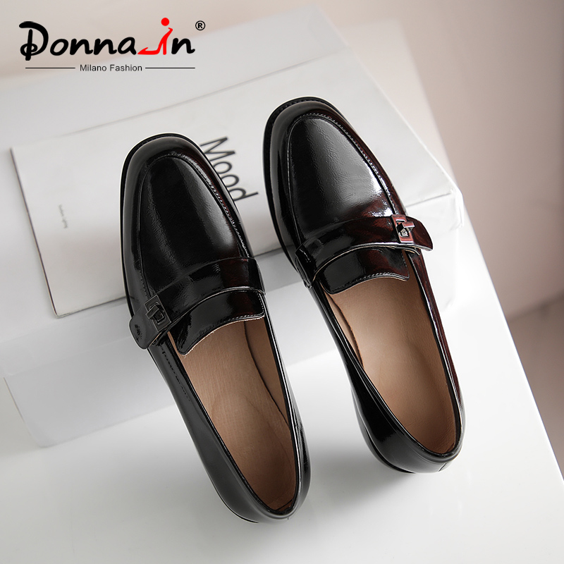 Donna-in Black Green Genuine Leather Loafers Shoes Women Spring Autumn Pleated Concise Casual Comfortable Flat Shoes 2020