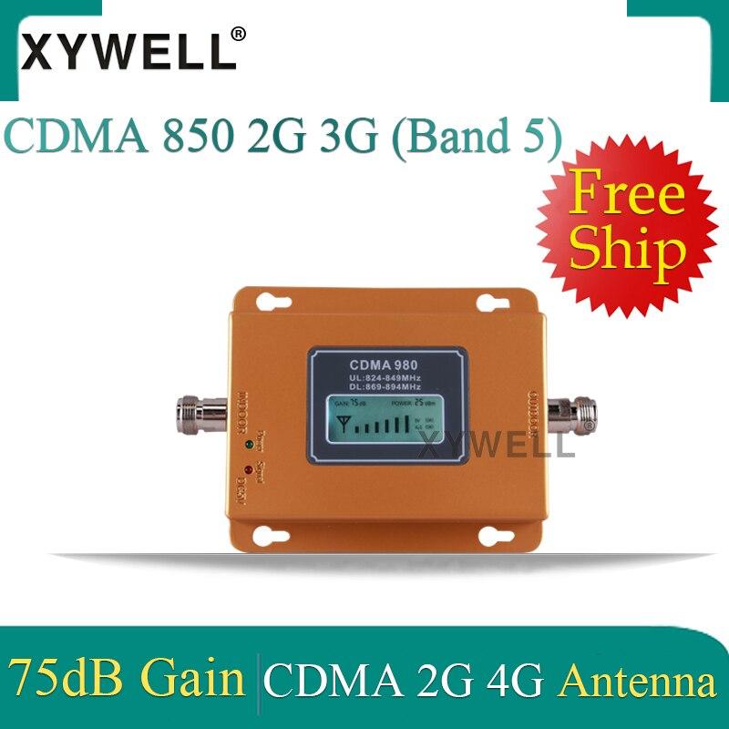 Repetidor de señal para teléfono móvil 75dB CDMA 3g 850 MHz 2G 3G 850mhz UMTS GSM CDMA amplificador de señal para teléfono móvil