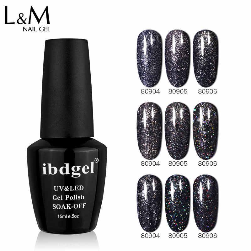 Ibdgel Hitam Glitter Gel Nail Polish Black Diamond Gel Rendam Off Semi Permanen Gellak Mengkilap Lacquer Enamel Kuku Gel Manikur